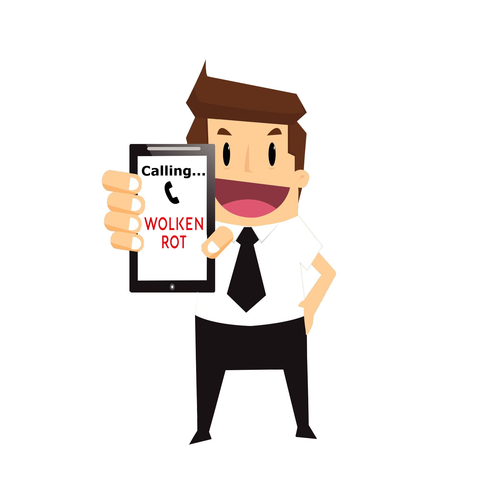 Cartoon-Mann mit Handy in der Hand mit Text darauf: Calling Wolkenrot